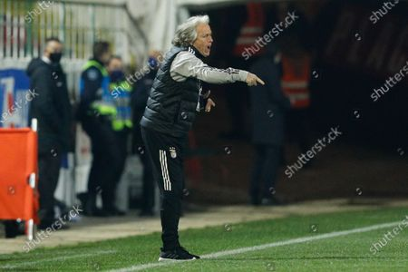 Benfica head coach Jorge Jesus reacts during their Portuguese Cup soccer match held at Jose Gomes Stadium in Reboleira, Amadora, Portugal, 12 January 2021.
