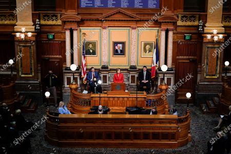 Iowa Gov. Kim Reynolds delivers her Condition of the State address before a joint session of the Iowa Legislature, at the Statehouse in Des Moines, Iowa