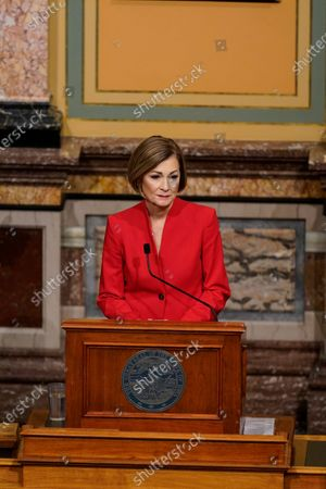Stock Photo of Iowa Gov. Kim Reynolds delivers her Condition of the State address before a joint session of the Iowa Legislature, at the Statehouse in Des Moines, Iowa