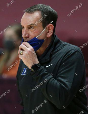 Duke coach Mike Krzyzewski watches during the second half of the team's NCAA college basketball game against Virginia Tech, in Blacksburg, Va