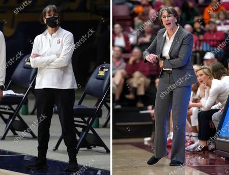 Stanford head coach Tara VanDerveer watches warmups before an NCAA college basketball game against California, in Berkeley, Calif. At right, in a Dec. 28, 2019, file photo, Stanford coach VanDerveer yells a play to her players during the first half against UC Davis in an NCAA college basketball game in Stanford, Calif. College basketball coaches have eschewed the traditional game day attire of coats, ties and dress slacks in favor of polos, quarter-zips and warmup pants. The trend started over the summer with NBA coaches who went casual when the league re-started its season at Walt Disney World resort near Orlando