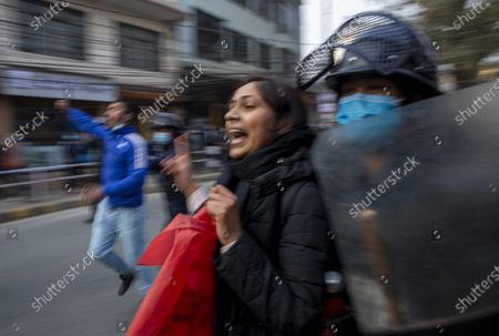 Editorial picture of Protests against the dissolution of parliament, in Kathmandu, Nepal - 13 Jan 2021