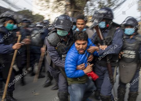Editorial image of Protests against the dissolution of parliament, in Kathmandu, Nepal - 13 Jan 2021