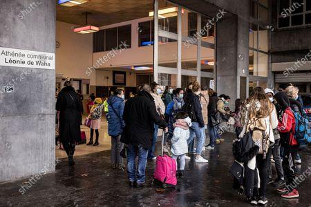 Editorial picture of Virus Outbreak Begging For School, Liege, Belgium - 12 Jan 2021