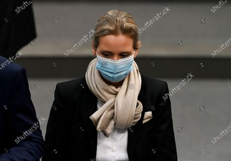 Alternative for Germany party (AfD) faction co-chairwoman in the German parliament Bundestag and deputy chairwoman Alice Weidel arrives a session of the German parliament 'Bundestag' in Berlin, Germany, 13 January 2021.
