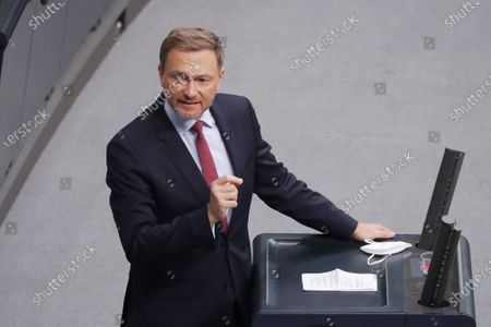 Stock Image of Leader of German Free Democratic Party Christian Lindner during a session of the German parliament 'Bundestag' in Berlin, Germany, 13 January 2021. Members of Bundestag debated on the Coronavirus development among others.