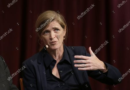 Stock Picture of Harvard professor Samantha Power, former U.S. Ambassador to the United Nations, addresses an audience at a forum on the campus of Harvard University, in Cambridge, Mass. President-elect Joe Biden has selected Samantha Power, the U.S. ambassador to the United Nations under President Barack Obama, to run the U.S. Agency for International Development