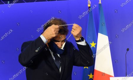 French right-wing Les Republicains (LR) party member of parliament and group's president Christian Jacob adresses his New Year wishes to the press.