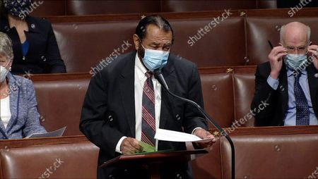 United States Representative Al Green (Democrat of Texas) makes remarks during the US House Impeachment debate and vote in the US Capitol in Washington, DC. This will be the second occasion where the US House has brought charges against US President Donald J. Trump.