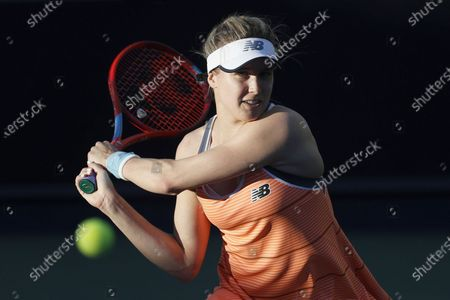 Eugenie Bouchard of Canada hits a return during the second round match between Yuan Yue of China and Eugenie Bouchard of Canada at the Australian Open 2021 Women's Singles qualifying in Dubai, United Arab Emirates, Jan. 12, 2021.