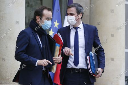 Stock Image of Sebastien Lecornu, Minister for Overseas France with Olivier Veran Minister of Health