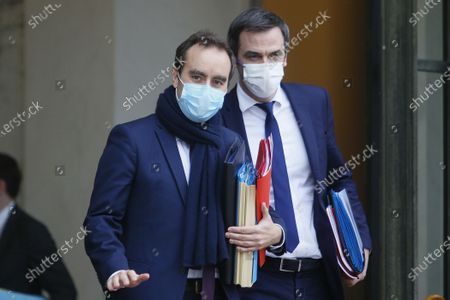 Stock Picture of Sebastien Lecornu, Minister for Overseas France with Olivier Veran Minister of Health