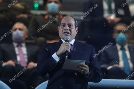 President of Egypt, Abdel Fattah Al-Sisi, delivers a speech before the opening match between Egypt and Chile at the 27th Men's Handball World Championship, in Cairo, Egypt, 13 January 2021.