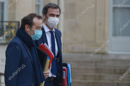 Stock Photo of French Health and Social Affairs Minister Olivier Veran  French Overseas Minister Sebastien Lecornu