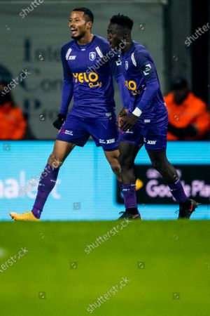Beerschot's Musashi Suzuki celebrate after scoring during a soccer match between Beerschot VA and Cercle Brugge KSV, Wednesday 13 January 2021 in Antwerp, a postponed match of day 17 of the 'Jupiler Pro League' first division of the Belgian championship.