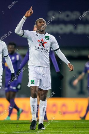 Cercle's Anthony Musaba celebrate after scoring during a soccer match between Beerschot VA and Cercle Brugge KSV, Wednesday 13 January 2021 in Antwerp, a postponed match of day 17 of the 'Jupiler Pro League' first division of the Belgian championship.