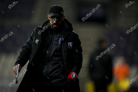 Beerschot's head coach Hernan Losada looks dejected after a soccer match between Beerschot VA and Cercle Brugge KSV, Wednesday 13 January 2021 in Antwerp, a postponed match of day 17 of the 'Jupiler Pro League' first division of the Belgian championship.