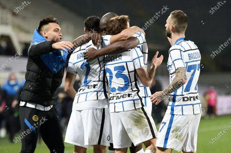 Romelu Lukaku of FC Internazionale scelebrates after scoring a goal of 1-2