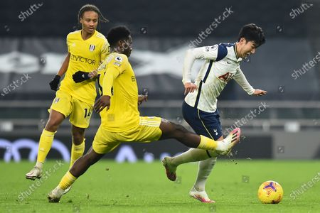 Fulham's Fabri (C) in action against Tottenham's Son Heung-min (R) during the English Premier League soccer match between Tottenham Hotspur and Fulham FC in London, Britain, 13 January 2021.