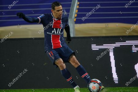 PSG's Angel Di Maria in action during the Champions Trophy soccer match between Paris Saint-Germain and Olympique Marseille at the Bollaert stadium in Lens, northern France, Wednesday, Jan.13, 2021