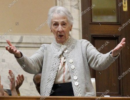 Barbara O'Malley, mother of Maryland Gov. Martin O'Malley, acknowledges a joint session of the legislature before Gov. O'Malley's annual State of the State address in Annapolis, Md. The Baltimore Sun reports that Barbara A. O'Malley died last at a nursing home in Timonium, Md
