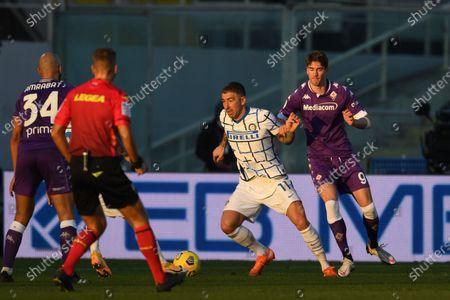 "Aleksandar Kolarov (Inter)Dusan Vlahovic (Fiorentina)            during the Italian ""Serie A Tim Cup match between Fiorentina 1- 2 (d.t.s.) Inter  at  Artemio Franchi Stadium on January 13 , 2021 in Florence, Italy."