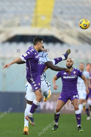 "Lucas Martinez Quarta (Fiorentina)Romelu Lukaku (Inter)            during the Italian ""Serie A Tim Cup match between Fiorentina 1- 2 (d.t.s.) Inter  at  Artemio Franchi Stadium on January 13 , 2021 in Florence, Italy."