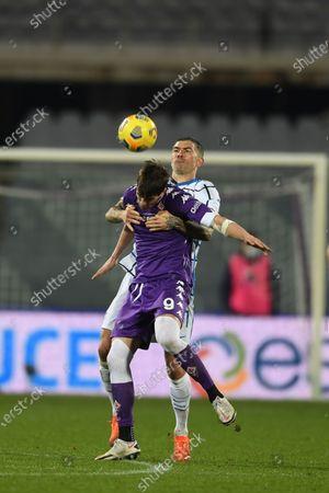 "Dusan Vlahovic (Fiorentina)Aleksandar Kolarov (Inter)            during the Italian ""Serie A Tim Cup match between Fiorentina 1- 2 (d.t.s.) Inter  at  Artemio Franchi Stadium on January 13 , 2021 in Florence, Italy."