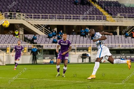 """Stock Picture of Romelu Lukaku (Inter)Igor Julio dos Santos de Paulo (Fiorentina)    he scored the second goal for his team        during the Italian """"Serie A Tim Cup match between Fiorentina 1- 2 (d.t.s.) Inter  at  Artemio Franchi Stadium on January 13 , 2021 in Florence, Italy."""