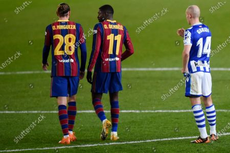 Ousmane Dembele and Oscar Mingueza of FC Barcelona during the Spain Supercup Semifinal 1 match between Real Sociedad and FC Barcelona played at El Arcangel Stadium on January 13, 2021 in Cordoba, Spain.