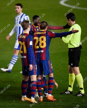 Ousmane Dembele, Antoine Griezmann and Frenkie de Jong of FC Barcelona  during the Spain Supercup Semifinal 1 match between Real Sociedad and FC Barcelona played at El Arcangel Stadium on January 13, 2021 in Cordoba, Spain.