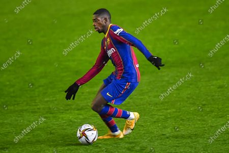 Stock Picture of Ousmane Dembele of FC Barcelona  during the Spain Supercup Semifinal 1 match between Real Sociedad and FC Barcelona played at El Arcangel Stadium on January 13, 2021 in Cordoba, Spain.