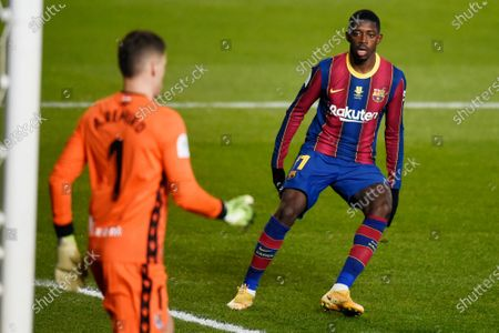 Ousmane Dembele of FC Barcelona  during the Spain Supercup Semifinal 1 match between Real Sociedad and FC Barcelona played at El Arcangel Stadium on January 13, 2021 in Cordoba, Spain.
