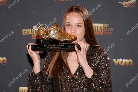 Winner of the Women's Golden shoe, Anderlecht's Tine De Caigny poses for the photographer with the Golden Shoe trophy, after winning the main category at the 67th edition of the award ceremony, Wednesday 13 January 2021, at the DPG Media headquarters in Antwerp. The Golden Shoe (Gouden Schoen / Soulier d'Or) is an award for the best soccer player of the Belgian Jupiler Pro League championship during the calender year 2020.