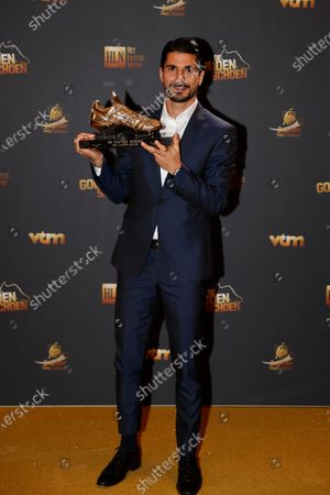 Antwerp's Lior Refaelov pose for the photographer with the Golden Shoe trophy, after winning the main category at the 67th edition of the award ceremony, Wednesday 13 January 2021, at the DPG Media headquarters in Antwerp. The Golden Shoe (Gouden Schoen / Soulier d'Or) is an award for the best soccer player of the Belgian Jupiler Pro League championship during the calender year 2020.