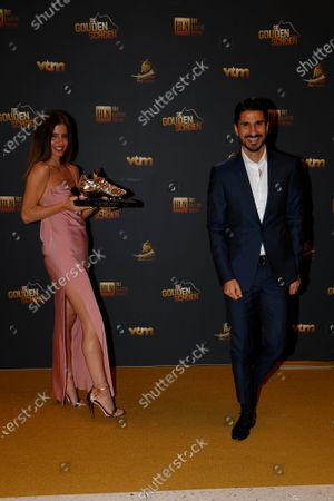 Antwerp's Lior Refaelov and his wife Gal pose for the photographer with the Golden Shoe trophy, after winning the main category at the 67th edition of the award ceremony, Wednesday 13 January 2021, at the DPG Media headquarters in Antwerp. The Golden Shoe (Gouden Schoen / Soulier d'Or) is an award for the best soccer player of the Belgian Jupiler Pro League championship during the calender year 2020.