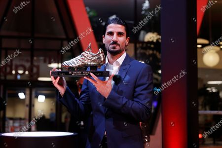 Winner of the Men's Golden Shoe, Antwerp's Lior Refaelov poses for the photographer with the Golden Shoe trophy, after winning the main category at the 67th edition of the award ceremony, Wednesday 13 January 2021, at the DPG Media headquarters in Antwerp. The Golden Shoe (Gouden Schoen / Soulier d'Or) is an award for the best soccer player of the Belgian Jupiler Pro League championship during the calender year 2020.