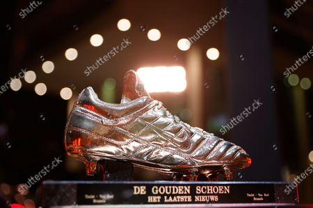 Illustration picture shows the trophy of the Golden Shoe pictured during the 67th edition of the award ceremony, Wednesday 13 January 2021, in Antwerp, at the DPG Media headquarters. The Golden Shoe (Gouden Schoen / Soulier d'Or) is an award for the best soccer player of the Belgian Jupiler Pro League championship during the calender year 2020.