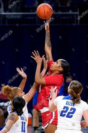 St. John's forward Raven Farley shoots against DePaul during the first half of an NCAA college basketball game in Chicago