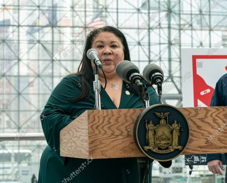 Secretary of State Rossana Rosado speaks during opening of vaccination site at Jacob Javits Center. Health care personnel, medical examiners, funeral workers, coroners, essential workers, police officers, firefighters, people older than 65 and more eligible right now to get vaccination in New York State.Â