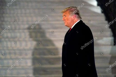 """Stock Photo of President Donald Trump arrives on the South Lawn of the White House, in Washington, after returning from Texas. Twitter CEO Jack Dorsey broke his silence to defend his company's ban of Trump as the right decision, but warned that it could set a dangerous precedent. The ban, he said, revealed Twitter's """"failure"""" to create an open and healthy space for what Dorsey calls the """"global public conversation"""