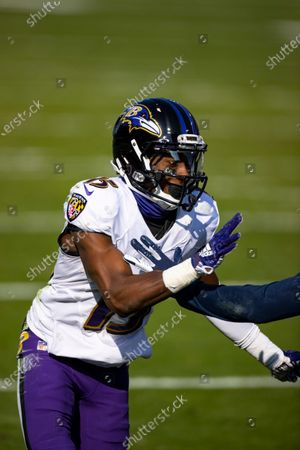 Baltimore Ravens wide receiver Marquise Brown (15) runs a route against the Tennessee Titans during the second quarter of an NFL wild-card playoff football game, in Nashville, Tenn. Ravens defeat Titans 20-13