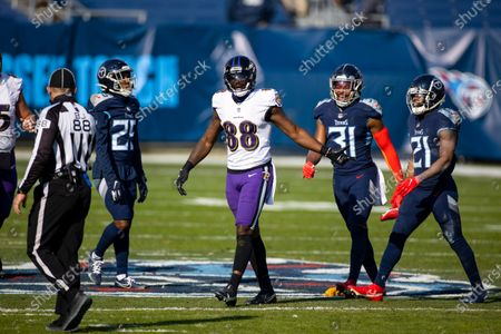 Baltimore Ravens wide receiver Dez Bryant (88) argues a penalty during the second quarter of an NFL wild-card playoff football game against the Tennessee Titans, in Nashville, Tenn. Ravens defeat Titans 20-13