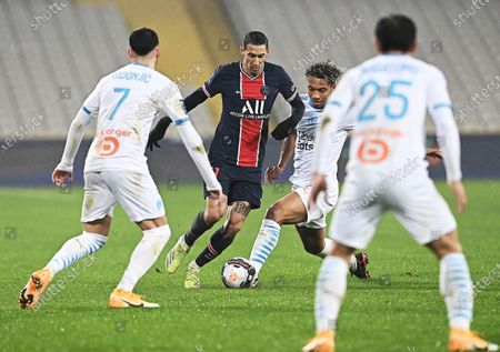 Paris Saint-Germain's Angel Di Maria (2nd L) competes during the French Champions Trophy (Trophee des Champions) football match between Paris Saint-Germain (PSG) and Marseille (OM) at the Bollaert-Delelis Stadium in Lens, France, on Jan. 13, 2021.