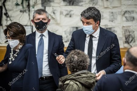 Italian Minister for Family and Equal Opportunities Elena Bonetti , Italian Undersecretary for Foreign Affairs Ivan Scalfarotto, Italian Senator, former premier and head of the political party 'Italia Viva' Matteo Renzi,during the press conference on the government crisis