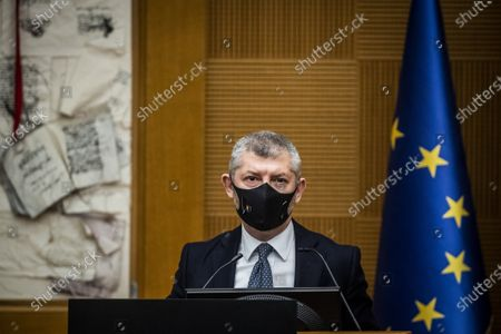 Stock Image of Italian Undersecretary for Foreign Affairs Ivan Scalfarotto during the press conference on the government crisis