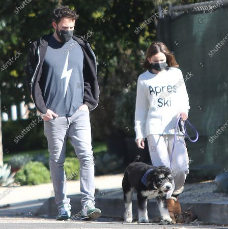 Stock Photo of Ben Affleck takes daugther Seraphina Affleck for a stroll with their pet