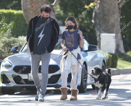Stock Picture of Ben Affleck takes daugther Seraphina Affleck for a stroll with their pet