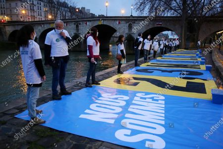 Greenpeace France, Oxfam France, the Nicolas Hulot Foundation, Notre Affaire A tous, near the Pont Marie, in Paris ,before the first hearing in landmark case against French state over climate inaction.