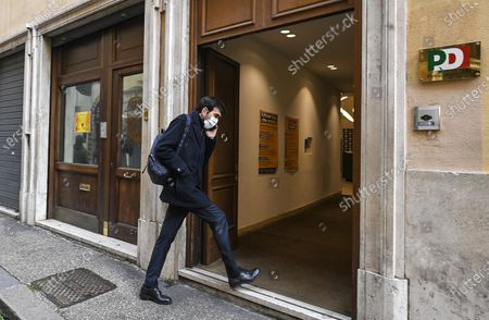 Stock Image of PD' (Democaric Party) Maurizio Martina arrives for a meeting of his party, in Rome, Italy, 14 January 2021. Italian Premier Giuseppe Conte was considering his options on 14 January after ex-premier Matteo Renzi triggered a government crisis on 13 January announcing his party is leaving the ruling coalition, which leaves the government without a majority in parliament, and withdraws its ministers from the cabinet.